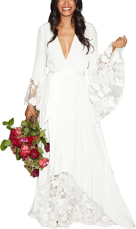 Simple Beach Wedding Dresses V-Neck Long Sleeve Chiffon High Side Slit Gown
