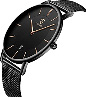 Watch, Mens Watch, Minimalist Fashion Simple Wrist Watch Analog Date with Stainless Steel Mesh Band