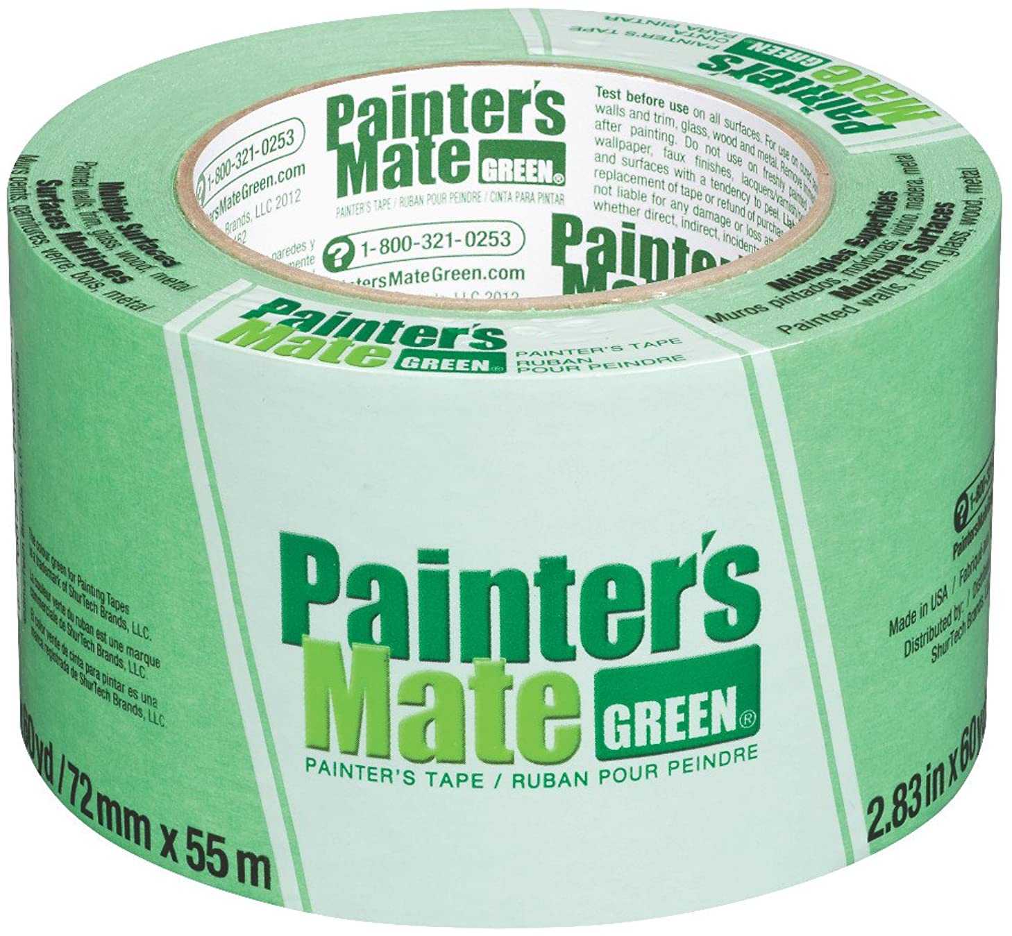 Painter's Mate Green Brand CP 150/8-Day Painter's Tape, Multi-Surface, 72mm x 55m, Green, 1 Roll (103364)