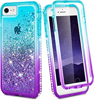 Ruky iPhone 6 6s 7 8 Case, Glitter Clear Full Body Rugged Liquid Cover with Built-in Screen Protector Shockproof Heavy Dut...
