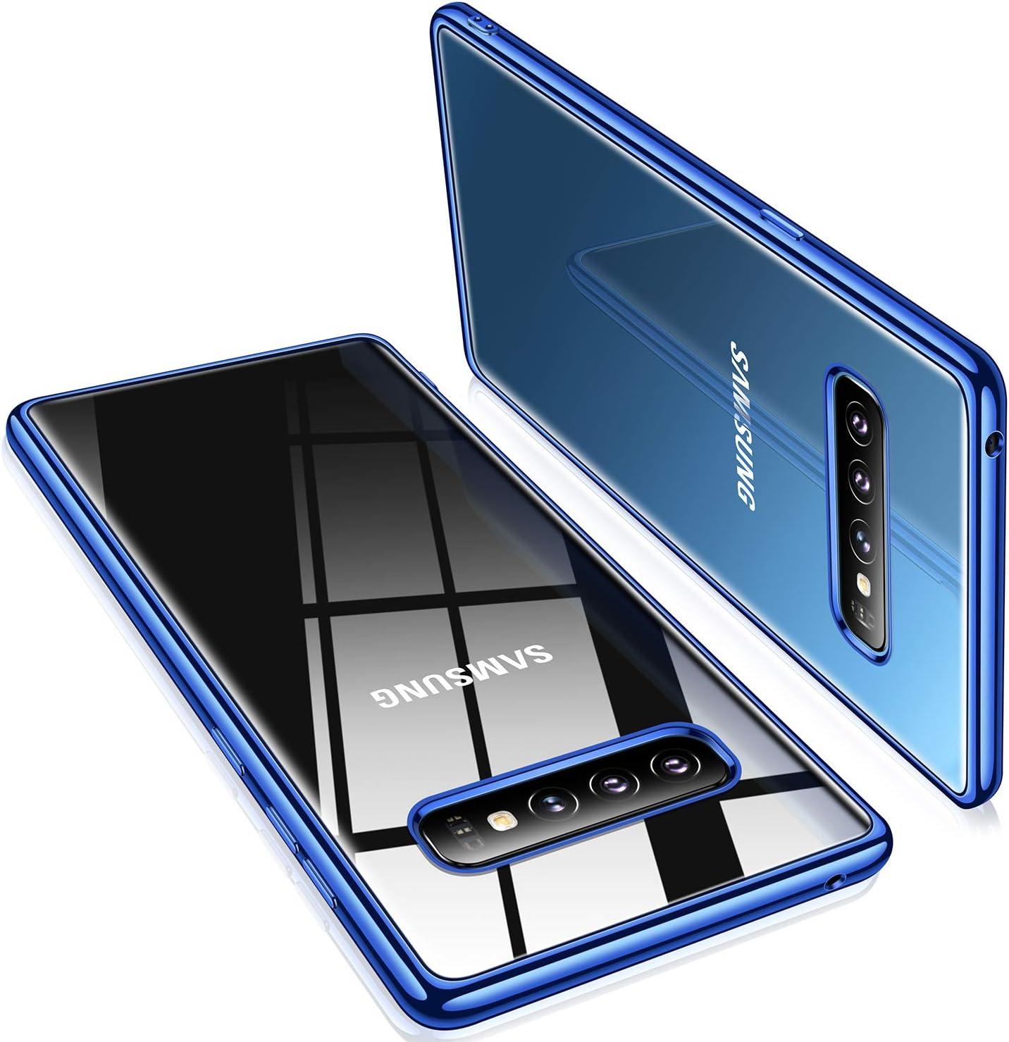 TORRAS Crystal Clear Galaxy S10+ Plus case 6.4 inch, Ultra-Thin Slim Fit Flashy Edge Case Soft TPU Cover for Galaxy S10 Plus, Glossy Blue