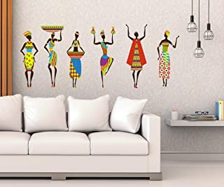 Studio Curate Vinyl African Tribal Women Wall Sticker 0.03 x 23.62 x 35.43 Inches, Multicolour
