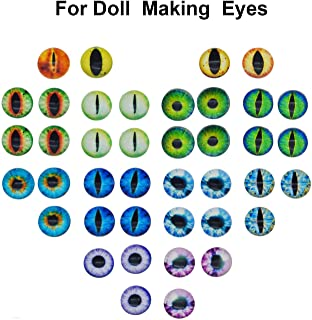 100PCS/Pack 15MM Assorted Round Glass Animal Eye Flatback Cabochons for Polymer Clay Doll Craft Making 25mm Cat Eye Evil Eye Bag