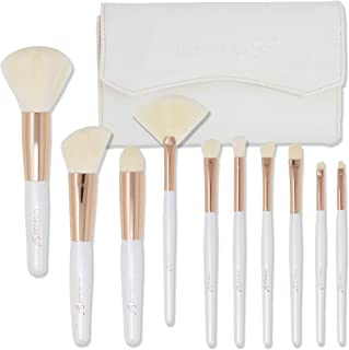 labeauteSoi Professional Makeup Brush Set - 10 pcs Essential Soft Synthetic Face and Eyeshadow Brushes in Pearl White Rose Gold - Travel Friendly White Faux Leather Case No Odor (US BRAND)