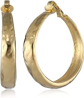 Kenneth Jay Lane Satin Gold Hoop Earrings