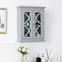 Glitzhome Wooden Bathroom Wall Storage Cabinet, Grey