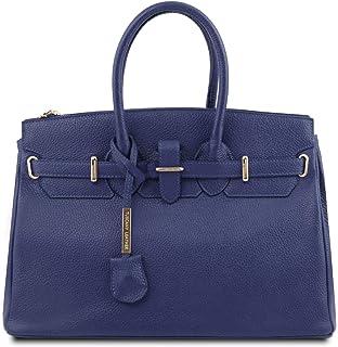 Tuscany Leather TLBag Handtasche aus Leder mit goldfarbenen Beschläge