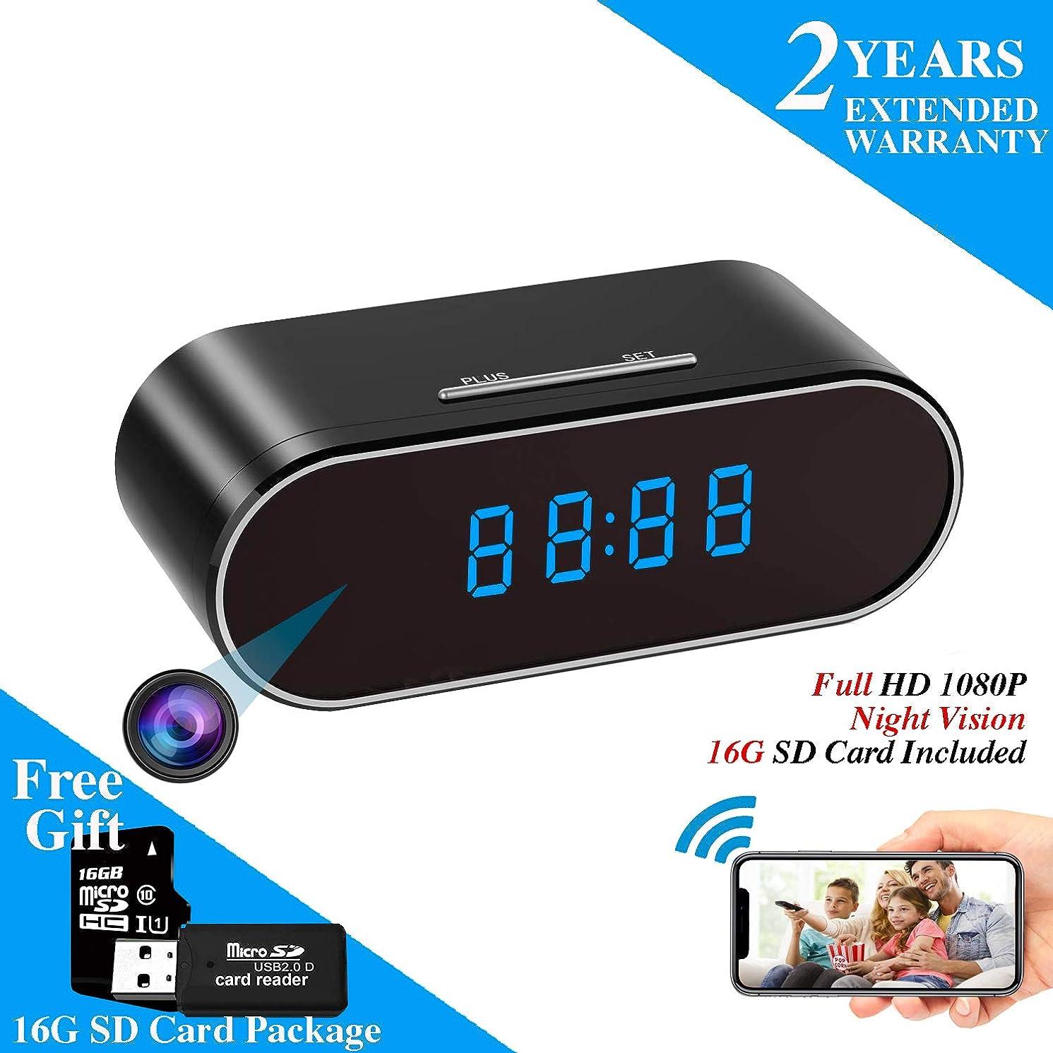 WEMLB HD 1080P WiFi Hidden Camera Alarm Clock Night Vision/Motion Detection/Loop Recording Wireless Security Camera for Home Surveillance - Spy Cameras