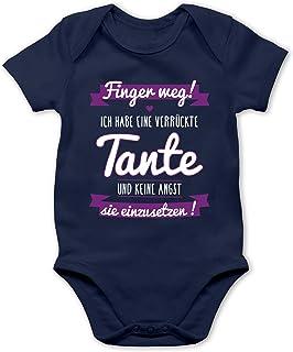 Shirtracer Sprüche Baby - Ich Habe eine verrückte Tante Lila - Baby Body Kurzarm für Jungen und Mädchen