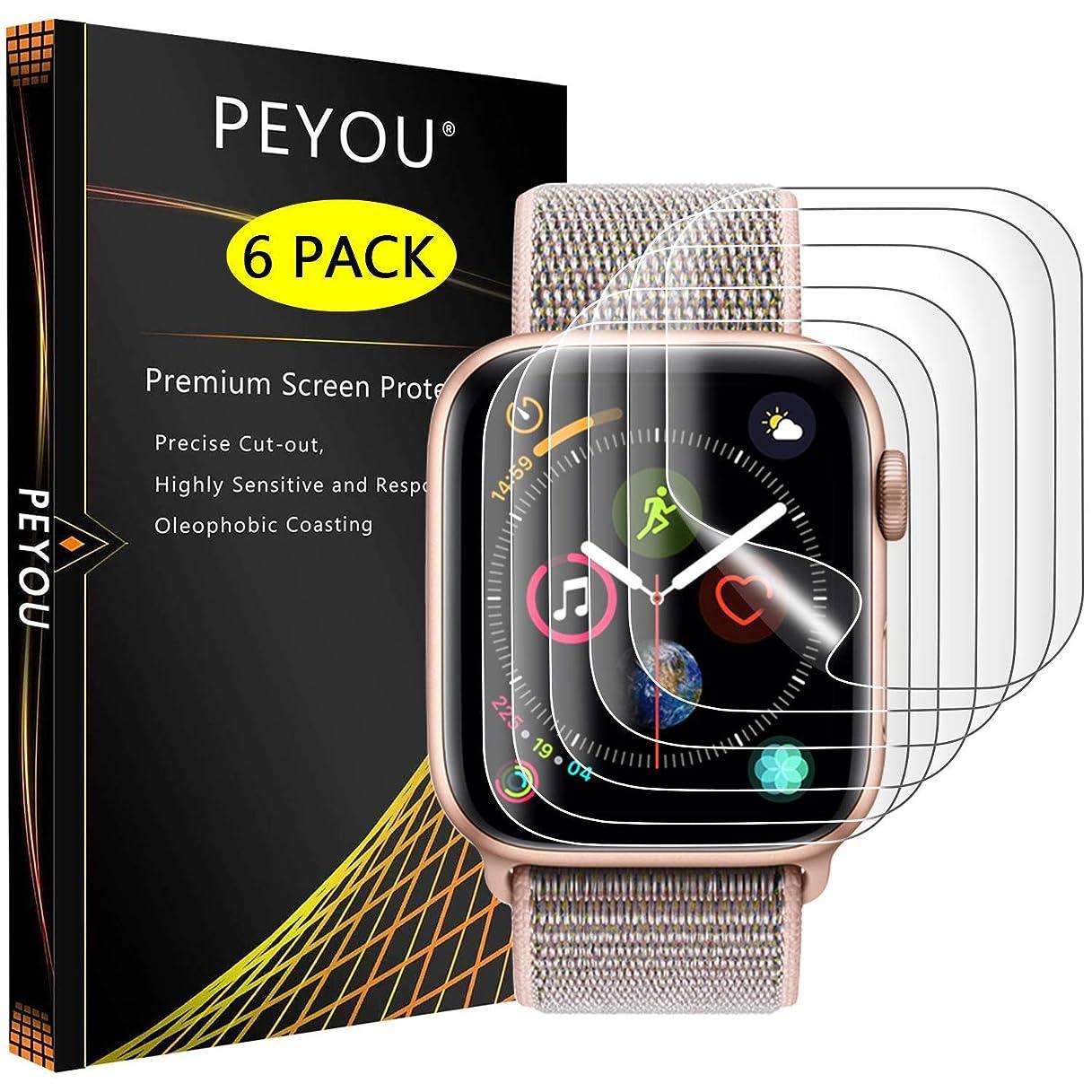 いま追放するラブ『6枚入り全面保護』Apple Watch Series4/5 フィルム 44mm PEYOU【Apple Watch 1/2/3 42mmも対応】アップルウォッチ4 フィルム 44mm TPU製【水貼り】12時間内に気泡が消える 防指紋 高光沢