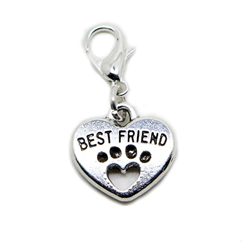 7c45bc7fc jewelleryjoy Best Friend Heart Paw Print Silver Tone Charms Pendant for  Locket Necklace and Bracelet