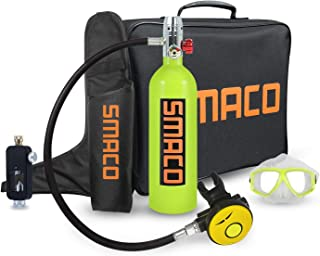 SMACO Scuba Diving Equipment Cylinder,1L Mini Portable Dive Oxygen Tank, with 12-18 Minutes Capability, Aluminum Alloy and Silicon Glue Scuba Diving Oxygen Bottle with Protective Bag