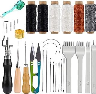 Kit D'artisanat En Cuir, 6 Outils Et Fournitures De Travail En Cuir À Fil De Cire Pcs Avec Poinçon À Broches, Cordes De Ci...