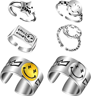 6 Pieces Smiley Face Ring Adjustable Unisex Vintage Silver Smiling Open Ring for Women Girl Men Smiling Band Ring Cute Smi...