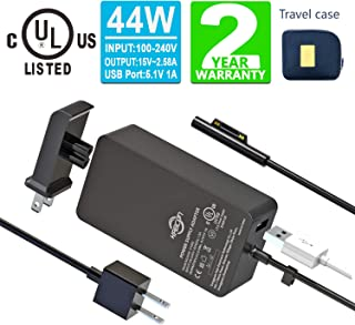 Surface Pro Surface Laptop Charger [UL Certified Updated Version] 44W 15V 2.58A Power Supply Compatible Microsoft Surface Pro 6 7 Pro 4 Pro 3,Surface Laptop 2,Surface Go,Surface Book with Travel Pouch