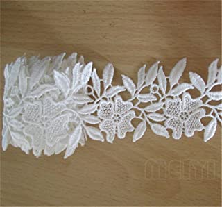 Qiuda 3 Meters 50mm// 2 Width White Wavy Floral Lace Ribbon Trim For Sewing Wedding Dress Embroidered Edging Crafts