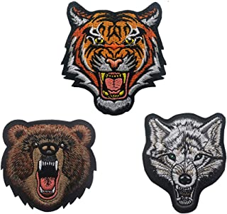SOUTHYU 3 Pack Animal Bear Tiger Fox Tactical Morale Patches Embroidered Military Emblem Badge, Hook and Loop Patch for Backpack, Rucksack, Baseball Cap, Jackets