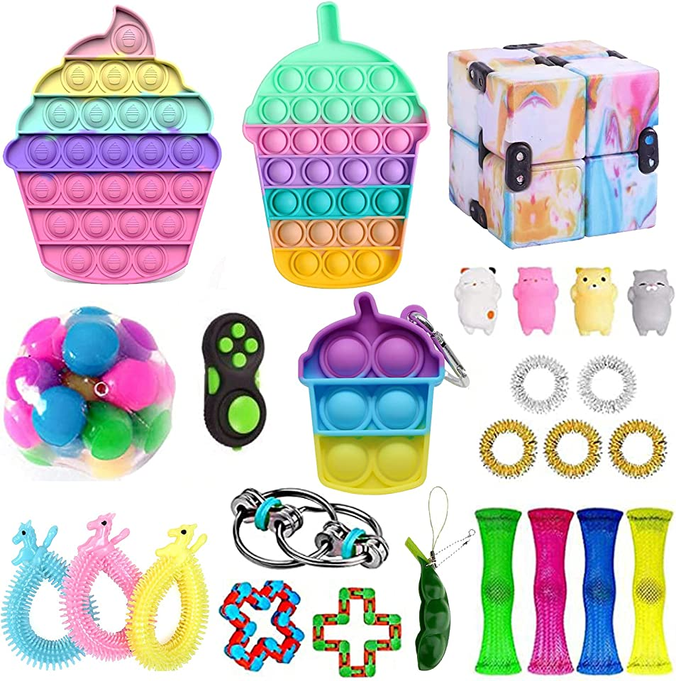 Pop Bubble Anti Stress Fidget Toy Set, Sensory Fidget Toy with Marble Mesh Pop Tubes Miniatur Spielzeug für Kinder