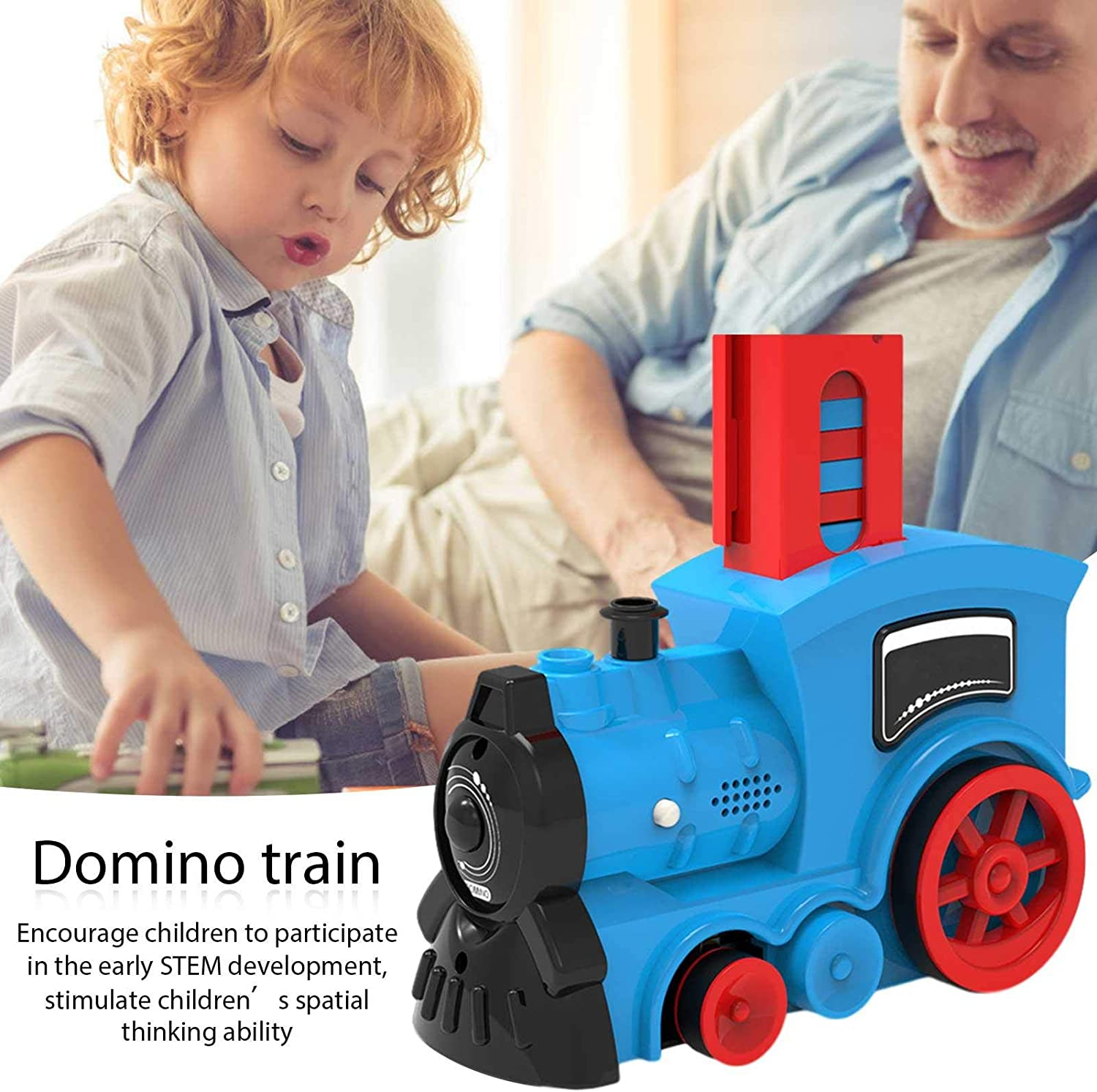 Lancei Domino Train Toy Set 80PCS Domino Blocks With Sound And Light Automatically Put Electric Trains Good Gifts For Boys And Girls