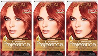 L'OrÃal Paris Superior Preference Fade-Defying + Shine Permanent Hair Color, RR-07 Intense Red Copper, 3 Count Hair Dye