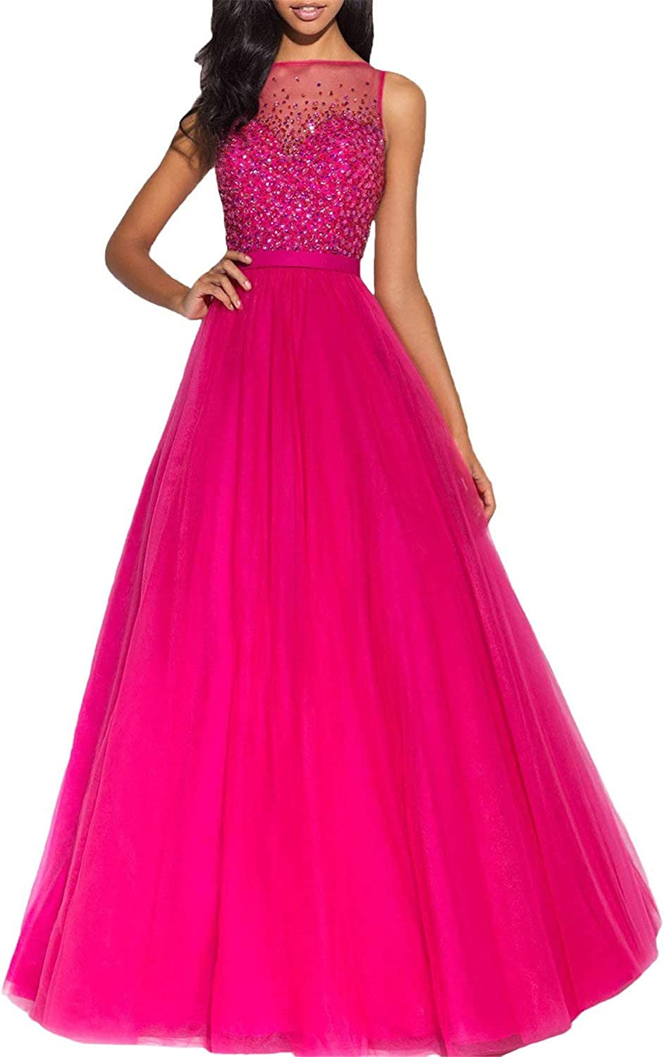 Gorgeous Sheer Neck Shinny Beaded Prom Dress Tulle Long Formal Gown