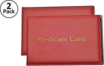 Medicare Card Protector with 2 Clear Card Sleeves - Holds Medical Prescriptions, Social Security Card, Driver License, Health Insurance, ID, Credit Card Holders, Red, 2 Pack