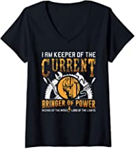 Womens I Am Keeper Of The Current Funny Electrician Gift V-Neck T-Shirt