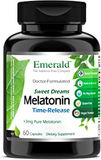 Time Release Melatonin (3 mg) - Promotes Relaxation & Healthy Sleep Patterns, More Energy, Better Overall Health - Emerald Labs (Sweet Dreams) - 60 Capsules
