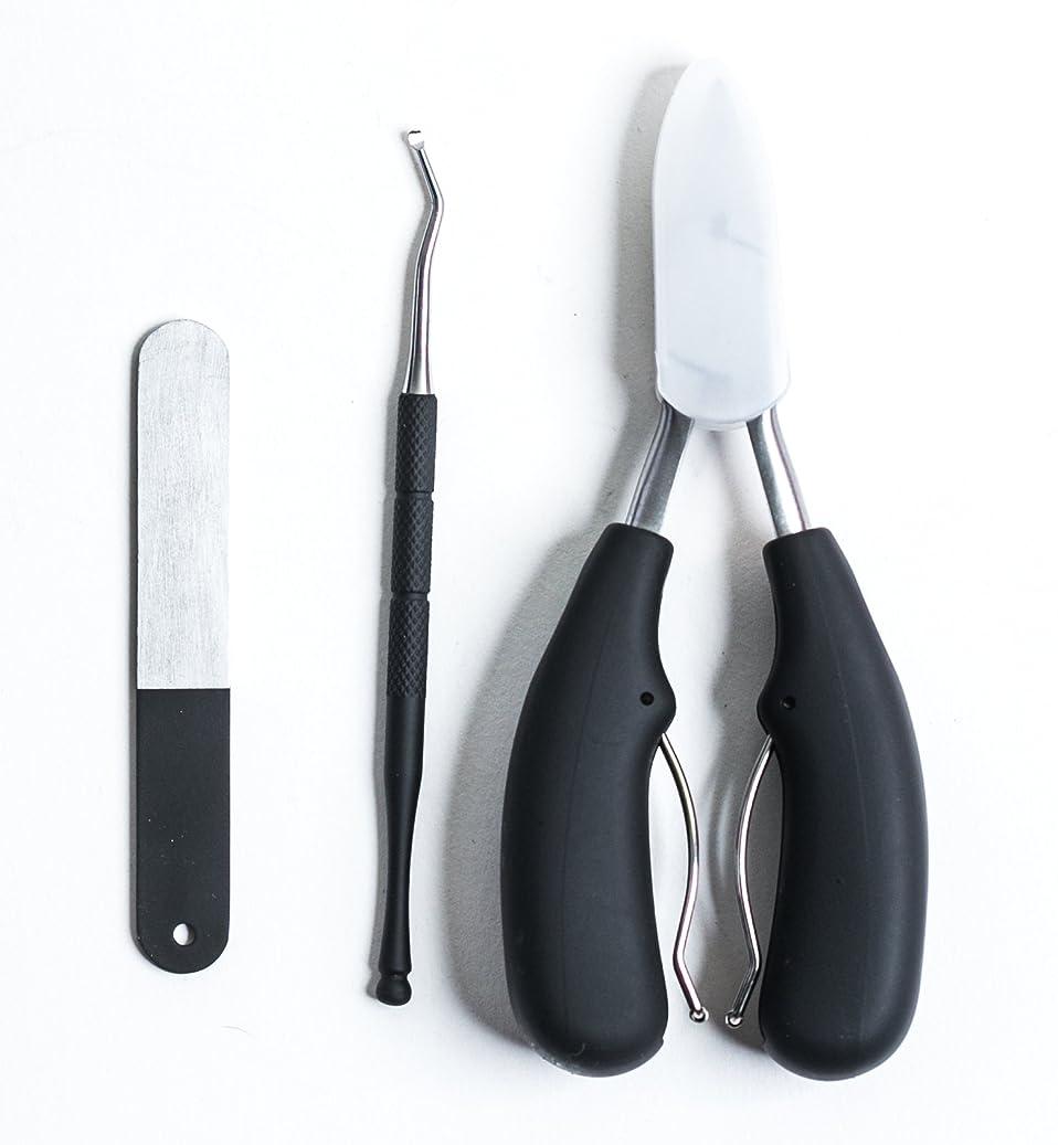 エイリアススタッフシルクLPVLUX - マニキュア ペディキュア ネイルニッパー 爪切り ネイルケア 3 点セット ステンレス製 Manicure Pedicure Nail Nipper Nail clippers Nail care (M, 青)