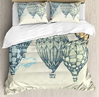 Vintage Duvet Cover Set King Size, Hot Air Balloons in Soft Tones Fly in The Sky Air High Tourism Artful Design Print, Decorative 3 Piece Bedding Set with 2 Pillow Shams, Green Blue