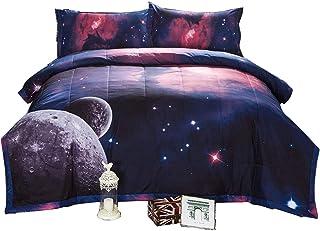 Jqinhome Twin Galaxies Dark Blue Comforter
