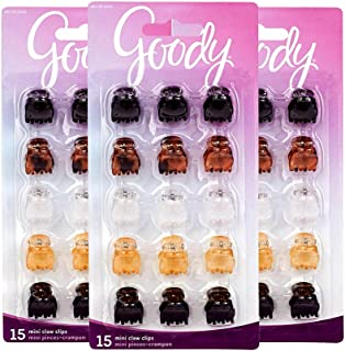Goody Mini Claw Hair Clip Assorted Colors 15 Count (Pack of 3)