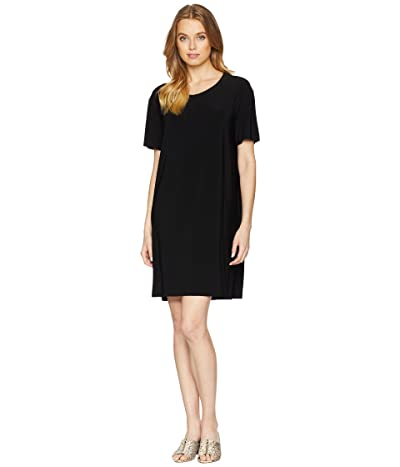 KAMALIKULTURE by Norma Kamali Short Sleeve Boxy Dress To Knee (Black) Women