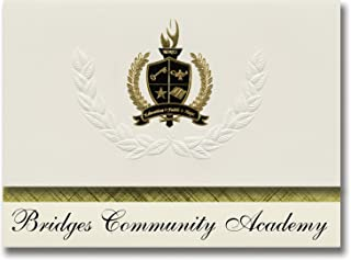 Signature Ankündigungen Brücken Gemeinschaft Academy (Tiffin, oh) Graduation Ankündigungen, Presidential Stil, Elite Paket 25 Stück mit Gold & Schwarz Metallic Folie Dichtung B078VDM679  Günstigstes