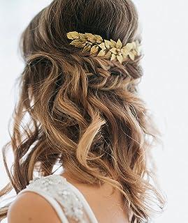 Broche para pelo de hojas doradas y pedrería de