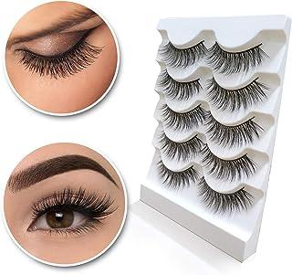 3D Mink Eyelashes Natural Long Make up Messy Flirty Fake Lashes Curly Lightweight Black False Eyelashes for Women 5 Pairs/Box Non-magnetic