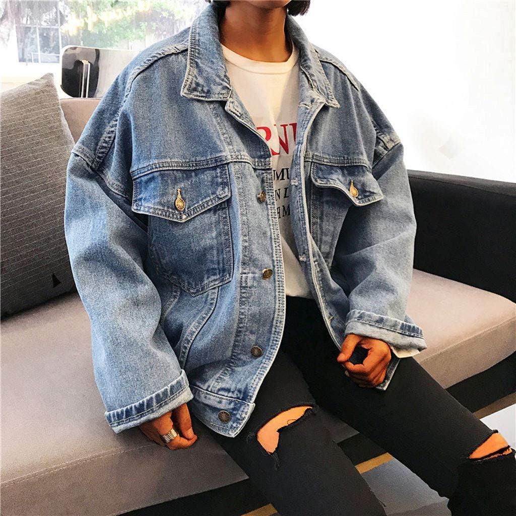 Women's Oversized Boyfriend Washed Denim Jacket Retro Cowboy Loose Button Down Jean Jacket Coat
