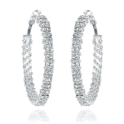 a8ac53e2689e3 Rhinestone Hoop Earrings: Amazon.com