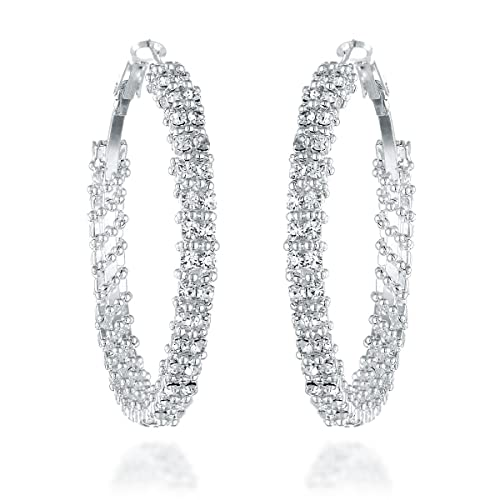 645b988e7c25b Crystal Silver and Diamond Hoops: Amazon.com