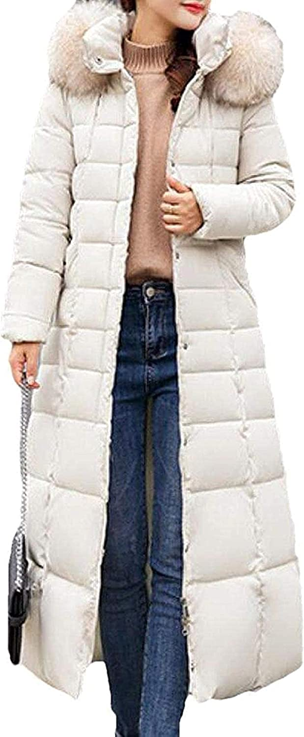 Women Quilted Thick Full Length Faux Fur Hoodies Puffer Down Coat