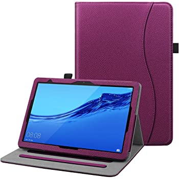 FINTIE Custodia Cover per Huawei MediaPad T5 10 - [Multi-angli] Slim Fit Folio Pieghevole Cover Protettiva con Tasca delle Carte perHuawei MediaPad T5 10.1 Pollici 2018, Porpora