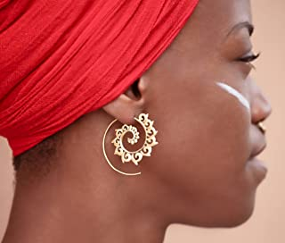 Silver Earrings - Silver Spiral Earrings - Gypsy Earrings - Tribal Earrings - Ethnic Earrings - Indian Earrings - Statement Earrings (ES9)