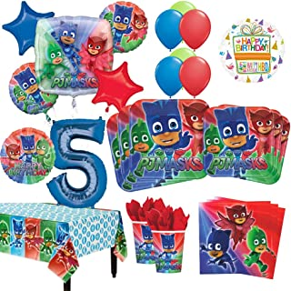 Mayflower Products PJ Masks 5th Birthday Party Supplies 8 Guest Kit and Balloon Bouquet Decorations