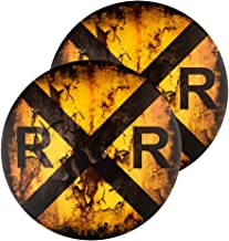 """12/"""" Round Metal Antique Look Railroad Crossing Sign Rail Road Novelty Sign"""