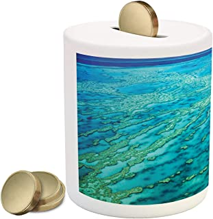 Lunarable Australia Piggy Bank, Aerial Photography of Barrier Reef Summer Travel Tropical Ocean, Printed Ceramic Coin Bank Money Box for Cash Saving, Aqua and Turquoise