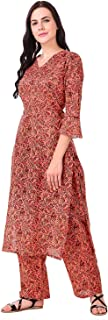 MEVE Orange Floral Kurta Palazzo Set for Women