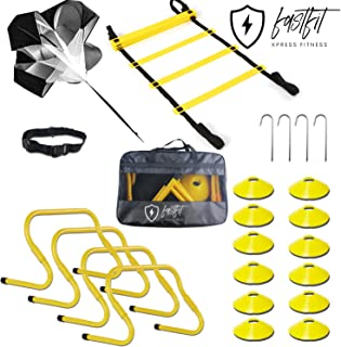 FASTFIT - Speed Agility Training Set, Includes 1 Resistance Parachute, 1 Agility Ladder, 4 Adjustable Hurdles, 12 Disc Cones | Exercise Equipment for Soccer Football Baseball Basketball Tennis Drills