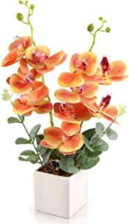 RERXN Artificial Orchid Bonsai Fake Orchid Arrangement 3 Heads PU Potted Phalaenopsis Plant for Home Party Decor (Orange)