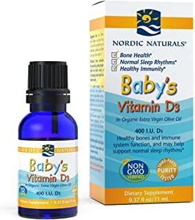 Nordic Naturals Baby's Vitamin D3 - Vitamin D From Natural Cholecalciferol Helps Calcium Absorption To Support Healthy Teeth, Bone Development, Immune System and Brain Function, 0.37 Fl Oz