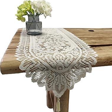 Tinsow 2 Pack Cotton Crochet Lace Rectangular Table Runner Dresser Scarf Doilies (Beige)
